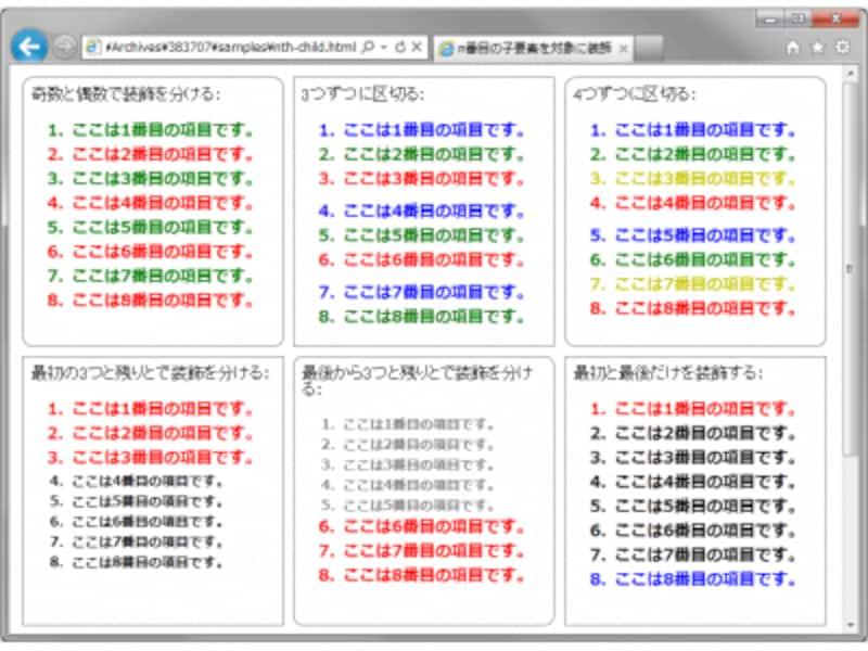 リストの順序を元にCSS3で装飾を施した例(IE9での表示例)