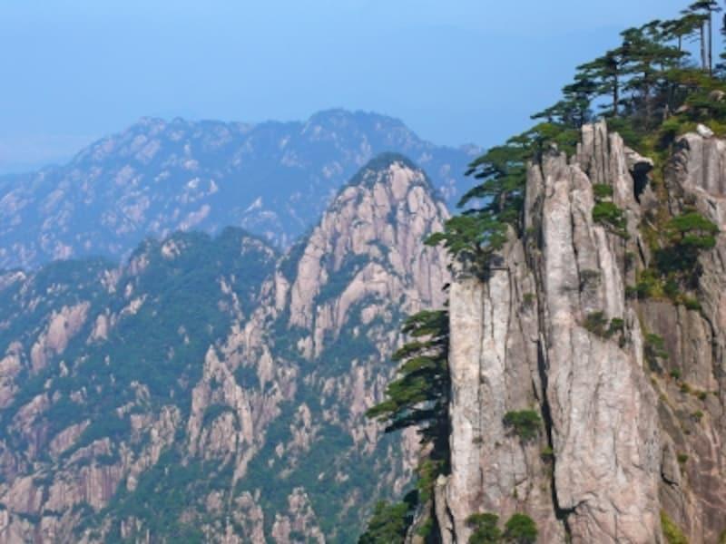 黄山松と山々