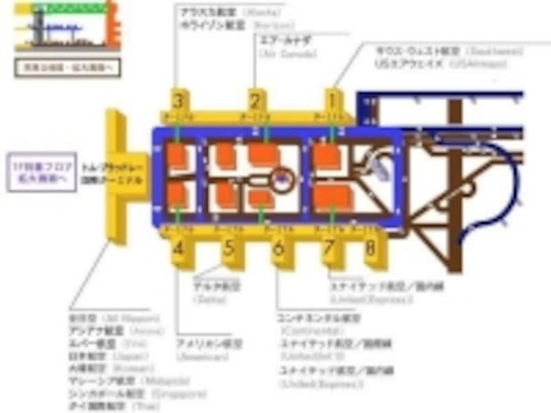 空港内の見取り図(C)ロサンゼルス観光局