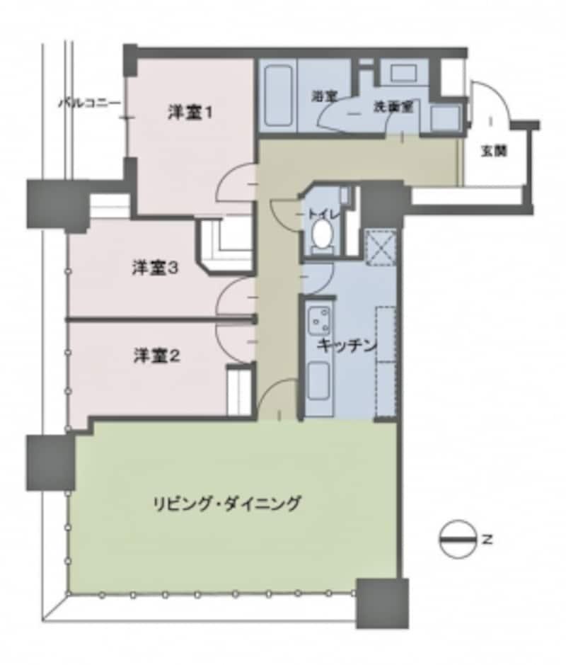 【図1】タワーマンションの間取りの例。83m2、3LDK。リビング・ダイニングの開放的な窓に注目(クリックで拡大)