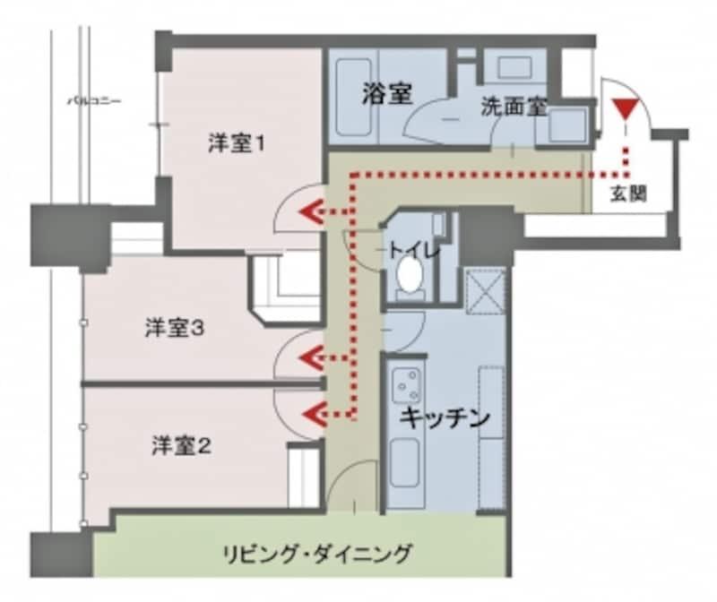 【図2】各個室には玄関から誰にも会わずに入ることができる、PP分離の間取りとなっている。