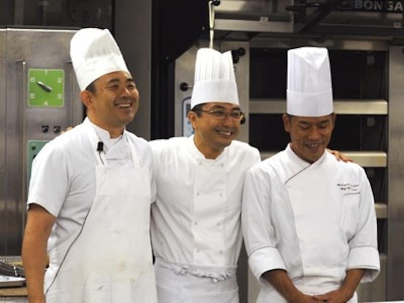 製パン実技を担当したシェフ、左から伊原さん、山崎さん、井上さん