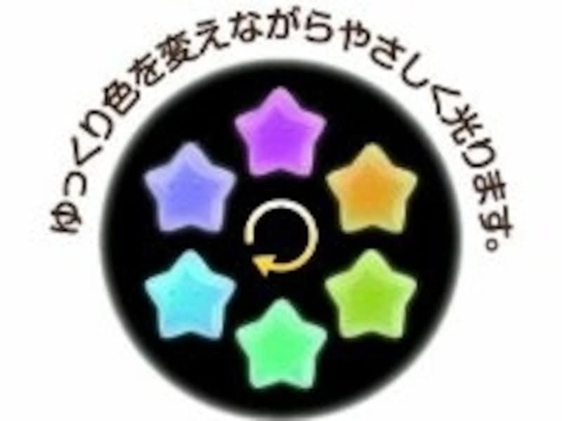 星の形をした本体がゆっくりと7色に光ります