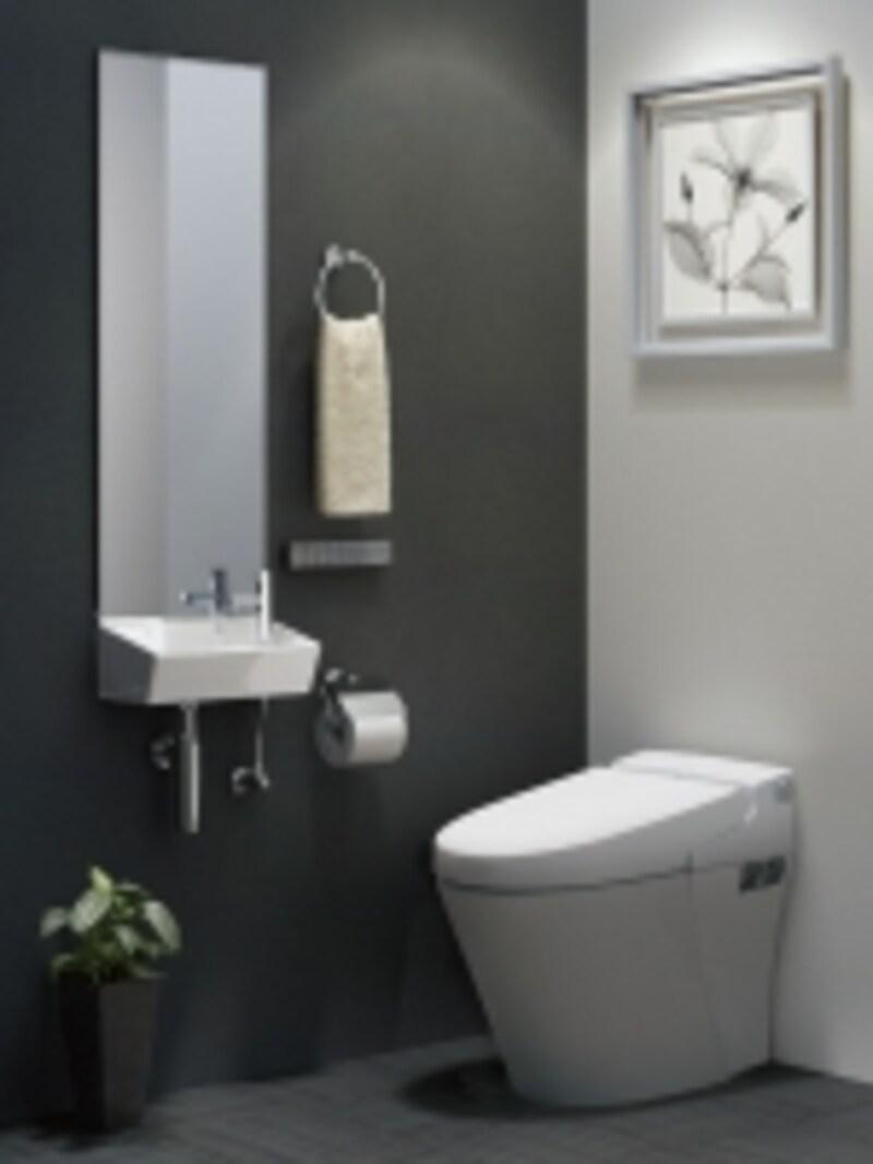 トイレアクセサリーは、便器はもちろん、手洗器や鏡などとコーディネートして選びたい。シンプルなデザインのシリーズ。[TCシリーズ紙巻器・タオルリング]undefinedLIXILhttp://www.lixil.co.jp/
