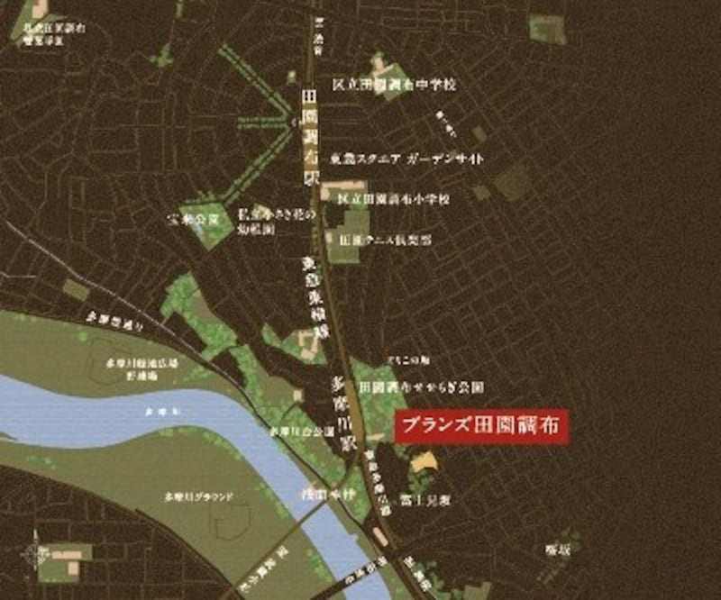 多摩川を望み、緑に囲まれた街「田園調布」イラスト図