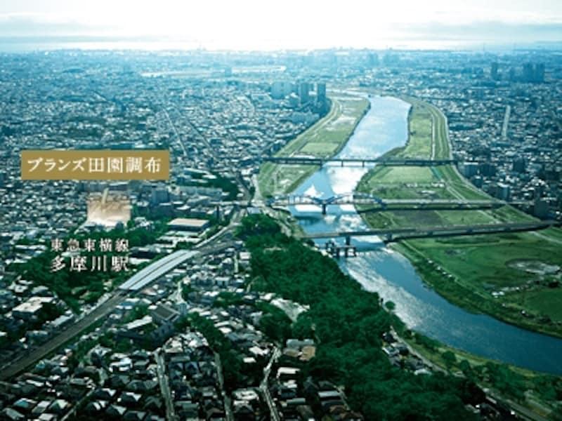 田園調布付近上空からの空撮(平成23年2月撮影)