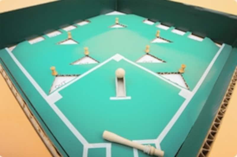 ※ダンボール工作「野球盤」完成品サンプルでは緑のビニールシートを使い、より本物らしく装飾しています。また、守備の選手に見立てて画びょうを使用しています。