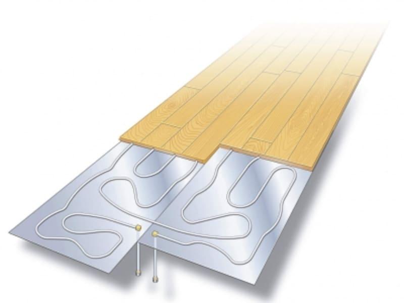 温水パイプとフローリングが一体なので、昇温が早い。施工も簡単。[はるびよりシリーズundefined温水式仕上げ材一体型]undefinedDAIKENhttps://www.daiken.jp/