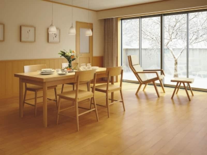 ドアや建具との同系色コーディネートが可能。傷や汚れに強く、キャスターや車イスも使用できる。[温水式(仕上げ材一体型暖房床)はるびよりD]undefinedDAIKENhttps://www.daiken.jp/