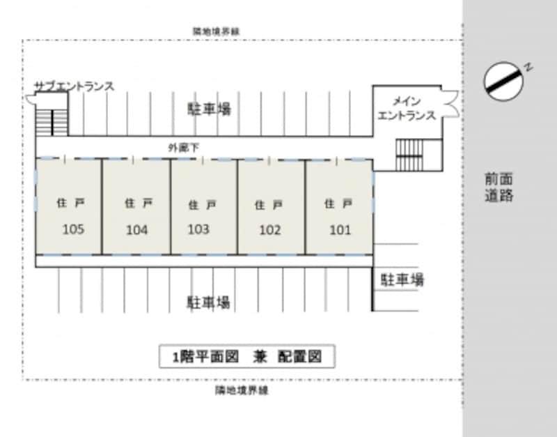 【図1】今回モデルとして使用するファミリータイプマンションの「1階平面図兼配置図」(クリックして拡大)。