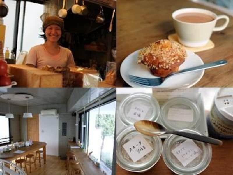 左上から時計回りに、宮本麻紀さん、サワーマフィンとミルクティー、さまざまな塩、2Fのカフェスペース