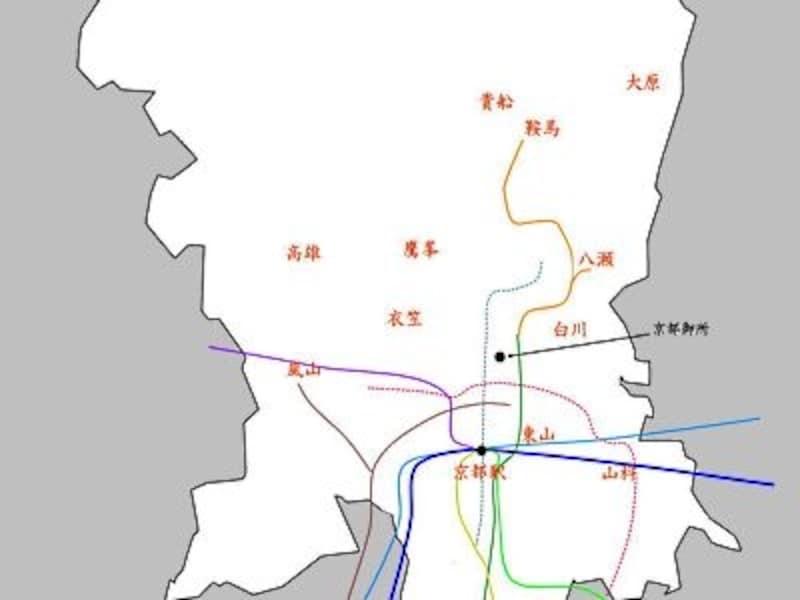 「京都もみじ回遊」でご紹介した紅葉の名所の位置関係