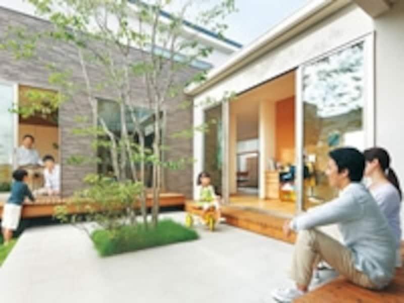 二世帯住宅の庭
