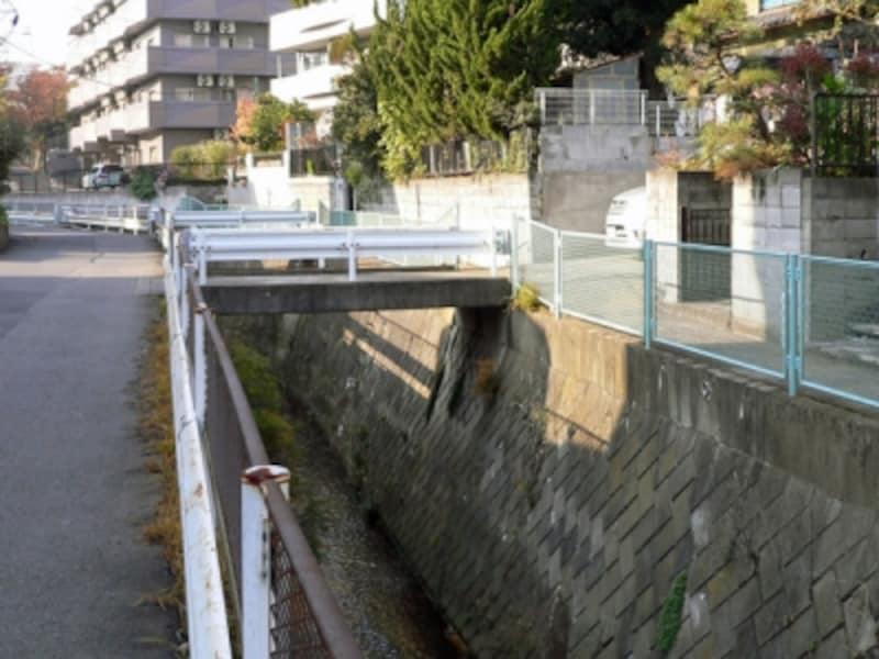 水路上に橋を設置した民家