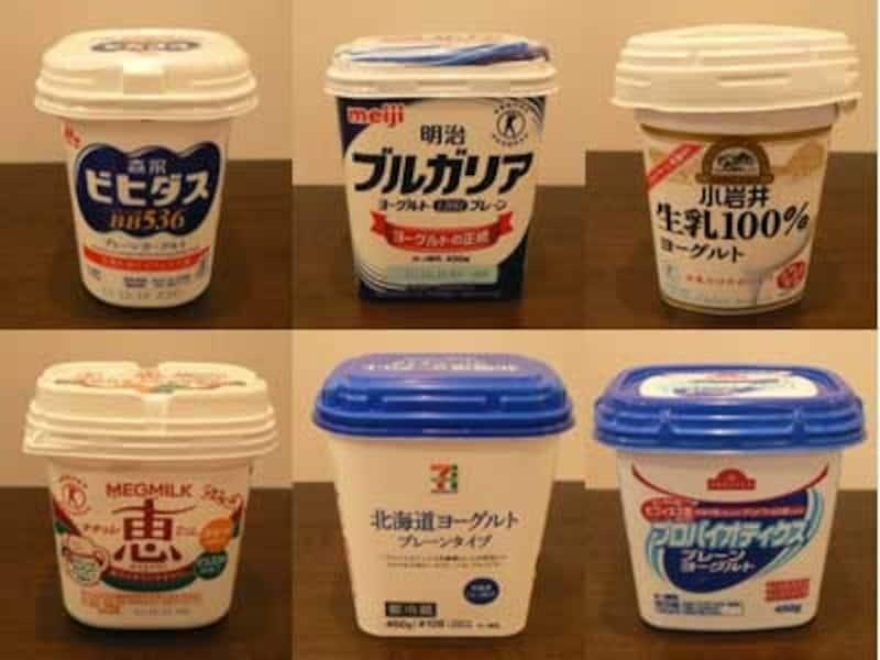 無糖プレーンヨーグルト6種
