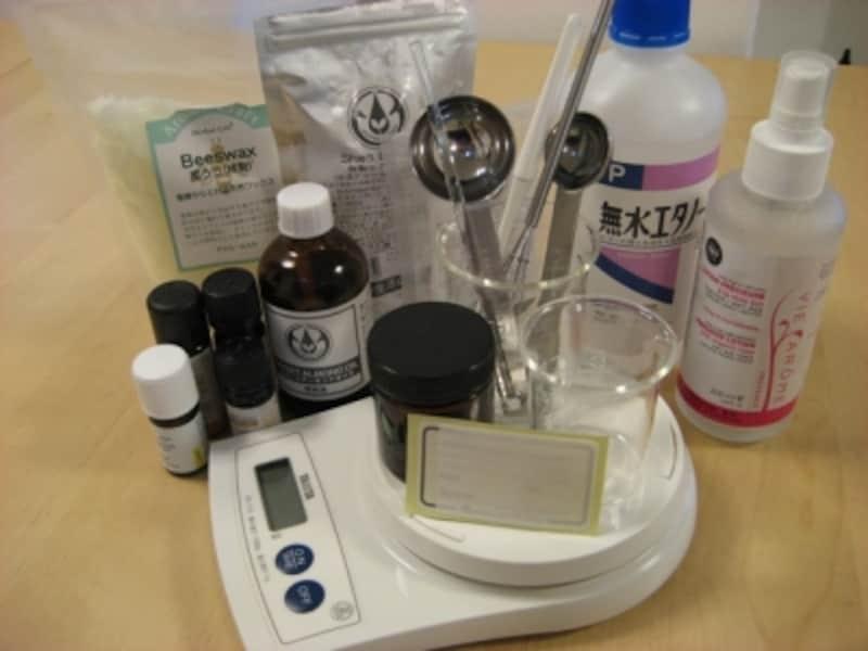 シアバター入りアロマクリーム材料道具