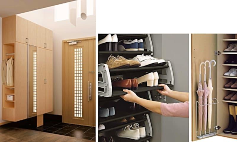玄関は狭い場所にたくさんのモノがある場所。収納効率を上げてスッキリ片付けましょう(大建工業)