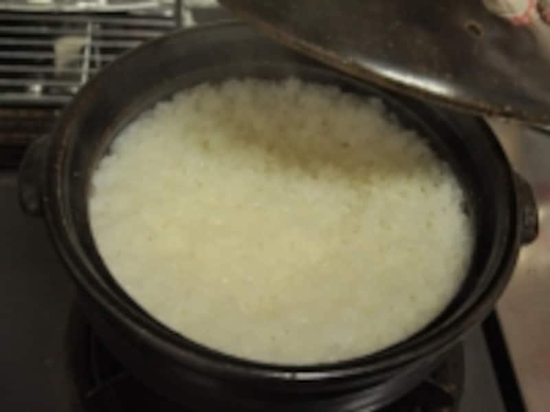 土鍋でご飯炊く手順写真