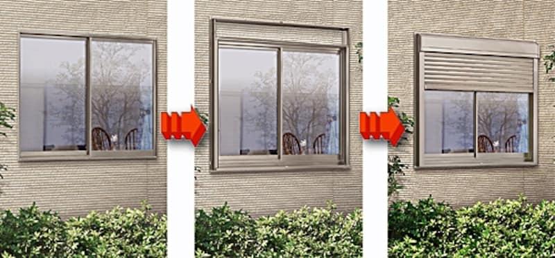 今ある窓に手軽に取り付けができるリフォーム用電動シャッター。停電時に手動で開閉できる操作用ハンドル付き(リフォームシャッター/LIXIL)