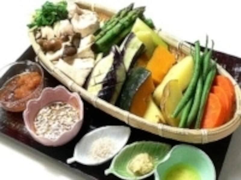 野菜と肉の蒸し料理&スープ