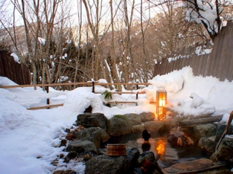 平湯温泉深山桜庵の貸切露天風呂