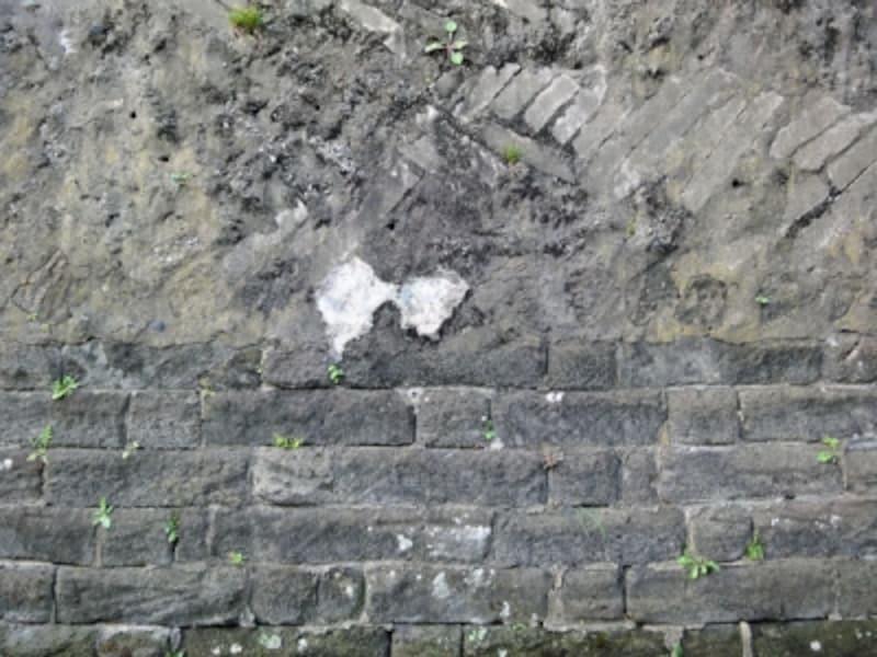 不明な材料が使われた擁壁