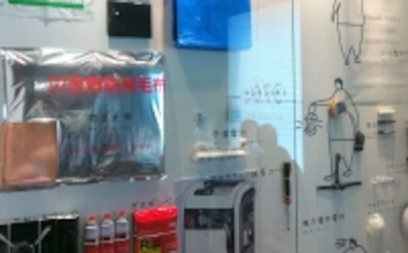 「プラウドタワー東雲」販売センター内に展示された防災備品