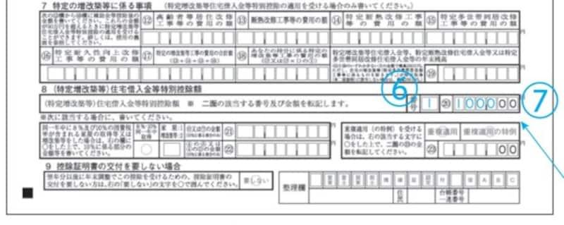 住宅借入金等特別控除計算明細書下部抜粋(出典:国税庁)