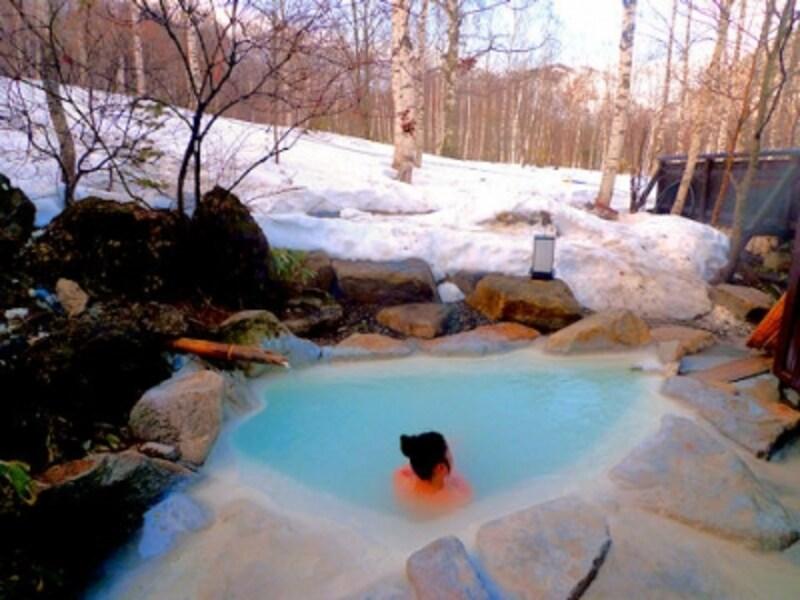 白骨温泉小梨の湯笹屋の貸切露天風呂