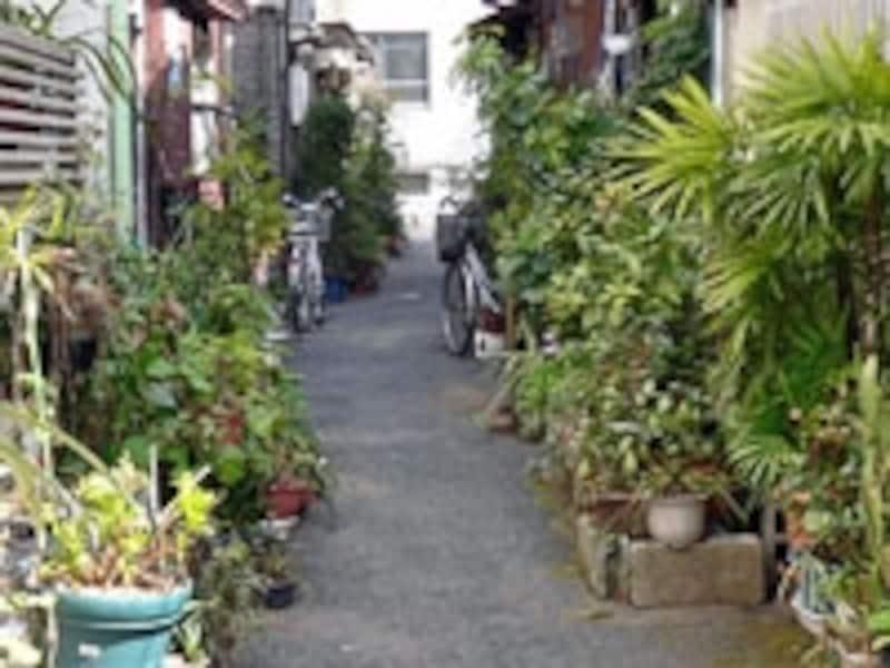 このような通路にのみ接する敷地では建築確認を受けられないことも