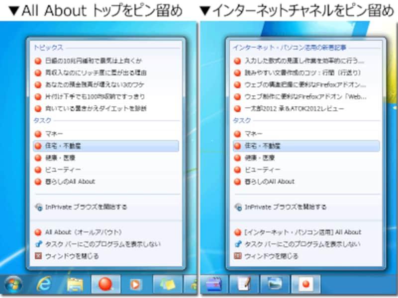 同サイト内でも、「ピン留め」するページによって、異なるジャンプリストを提供できる