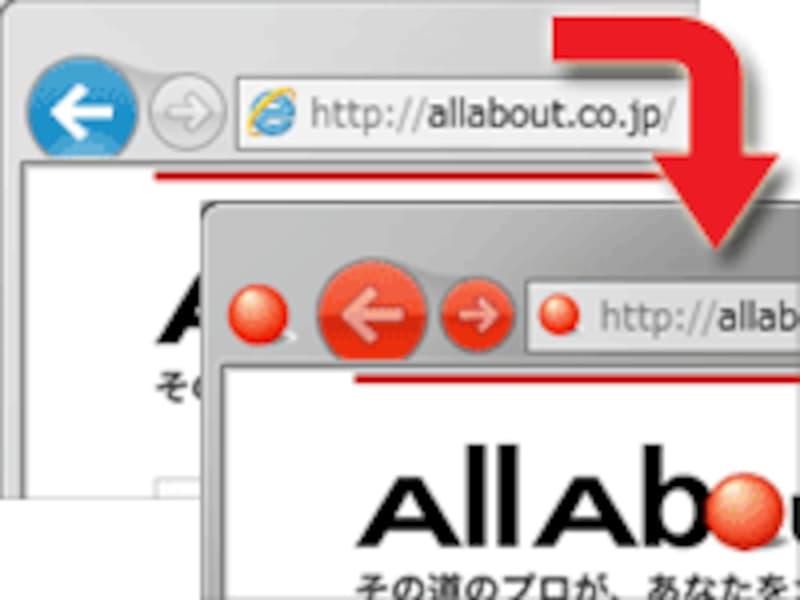 IEのナビゲーションボタンが、サイトアイコンの配色に合わせられる