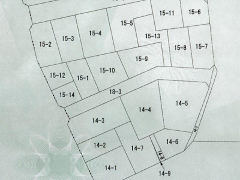 地図に準ずる図面(公図)の例、数字は地番のみが記載されている