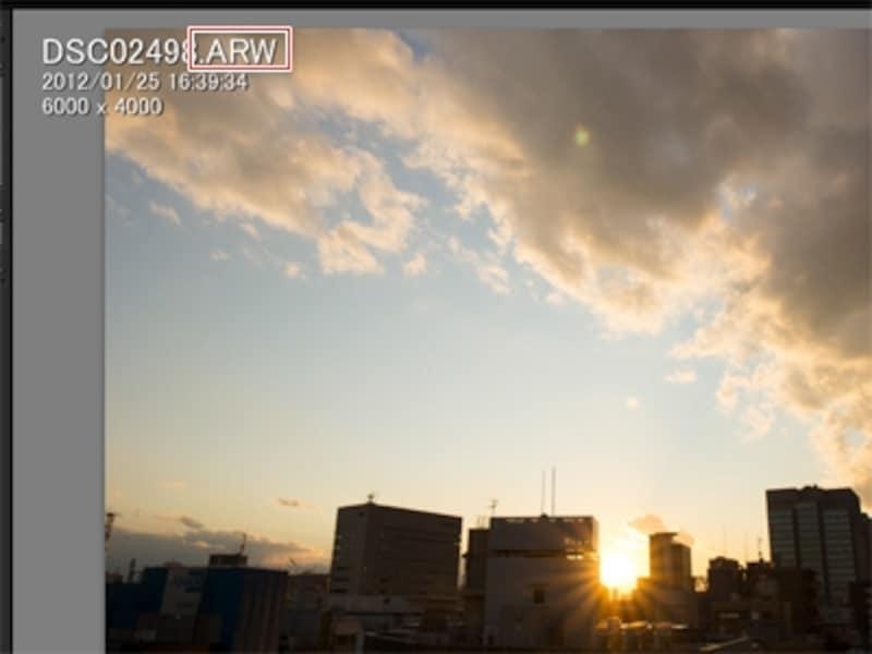 Lightroom4で開いた、拡張子が「.ARW」というRAW形式の画像