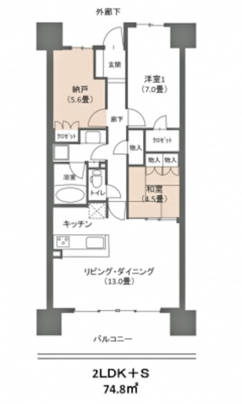 【図1】今回のモデルプラン。2LDK+S(Sはサービスルーム、納戸を指す)、74.8m2のファミリータイプ。外廊下側に5.6畳の納戸、リビングに接して4.5畳の和室がある(クリックして拡大)。
