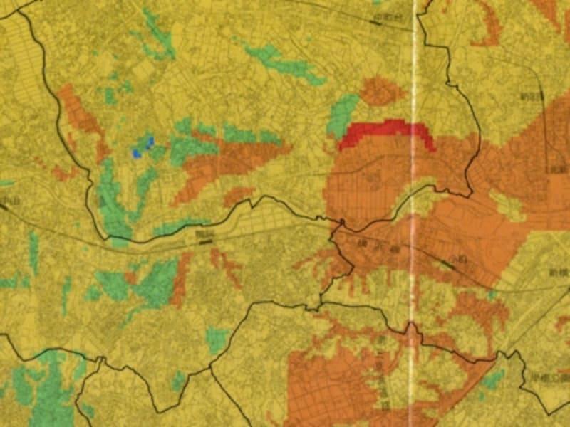 横浜市の地震マップの例