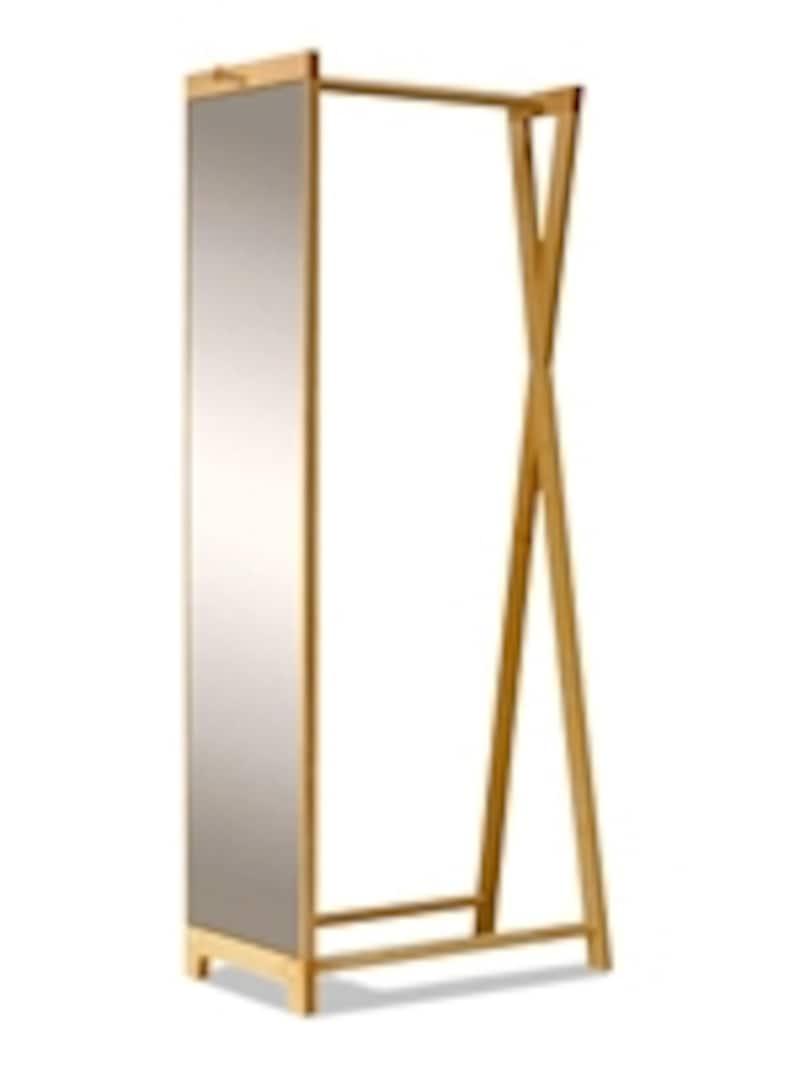 一時掛けフックと大型鏡を兼ねたドレスラックなら見せる収納としても(ドレスラック・メープル材/AllAboutスタイルストア)