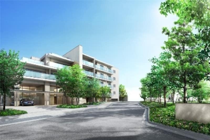 マンション・一戸建て両街区をつなぐメインストリートには豊富な緑が「外観完成予想CG」