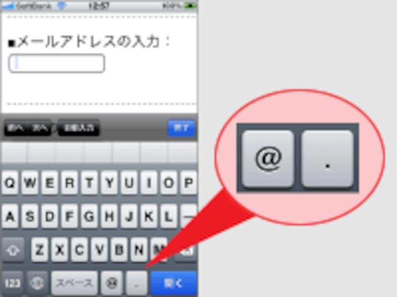 メールアドレス用キーボード