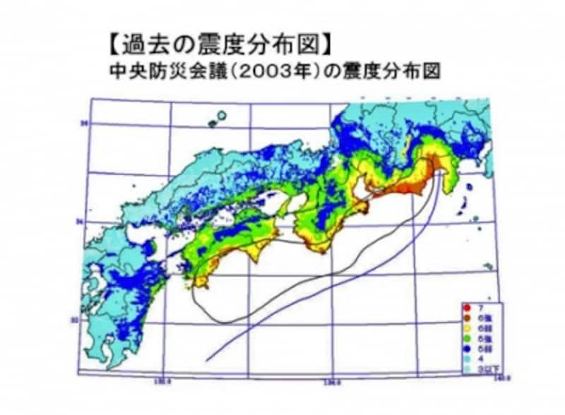 【図2】過去の震度分布図(クリックして拡大) 出典:内閣府 南海トラフの巨大地震モデル検討会 資料