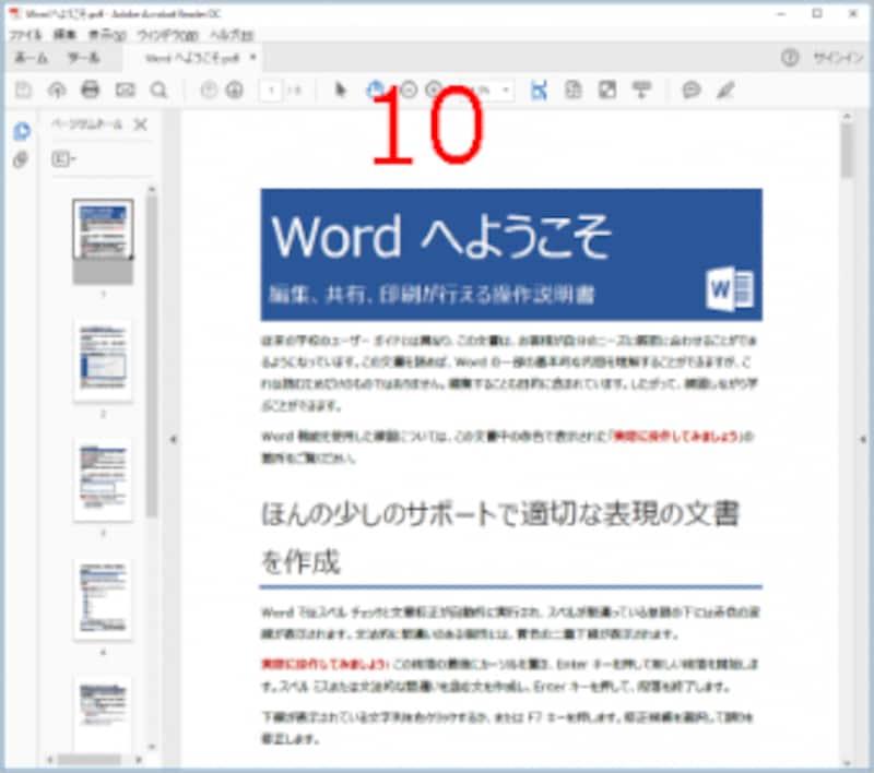 AdobeReaderが起動してPDFファイルが表示されます