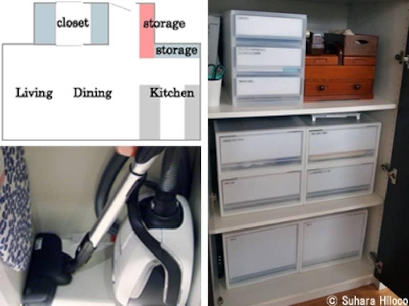 書類と掃除道具の収納