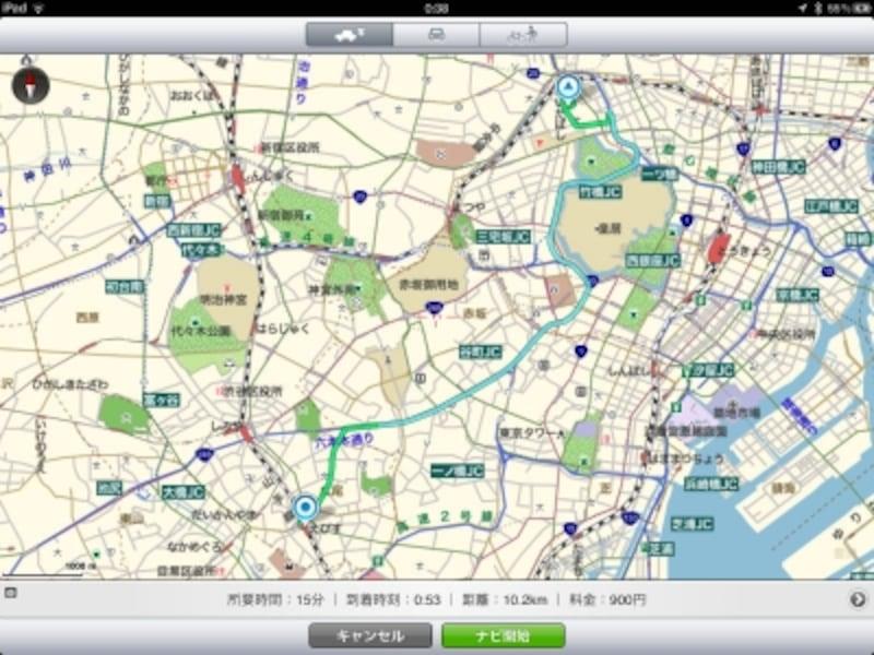 日本全国の地図を収録するだけでなく、ナビゲーションにも対応する地図アプリ「MapFanforiPhone」
