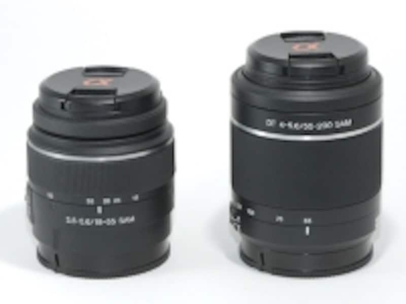 ズームレンズキットに付属する「DT18-55mmF3.5-5.6SAM」と、ダブルズームキットに付属する「DT55-200mmF4-5.6SAM」