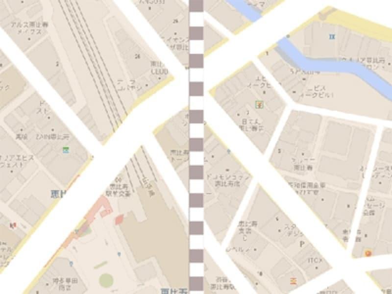 [移動]ツールで線路の左右を少し狭めて線路らしくする