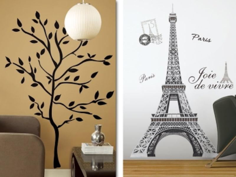壁に木や塔