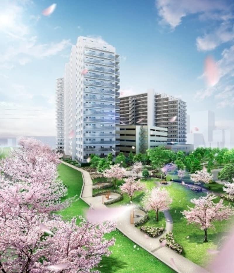 総戸数528戸と首都圏でも有数の規模を誇る「ザ・パークハウス青砥」外観完成予想CG