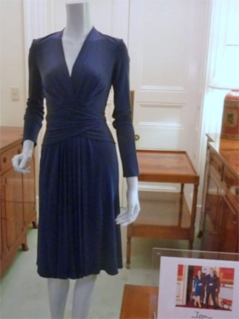 ロイヤルブルーのシルクジャージードレス