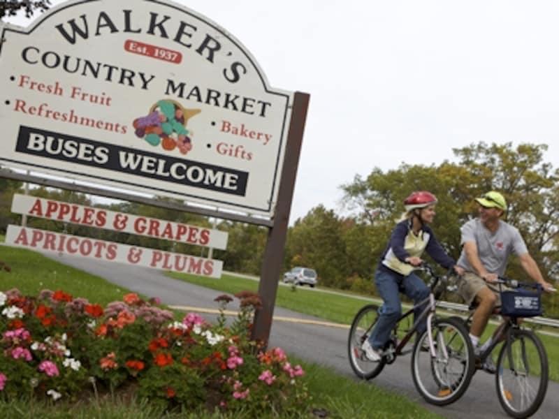 果樹園やワイナリーが点在するナイアガラオンザレイクでは、自転車はぴったりの移動手段(C)TourismOntario
