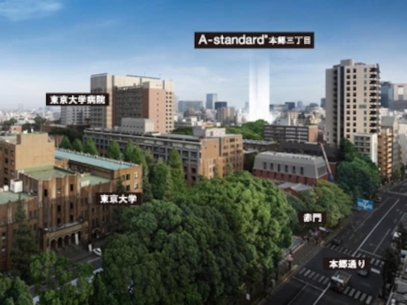 東京大学の緑を借景に「A-standard本郷三丁目」※現地周辺から撮影(2011年11月)の眺望写真にCG加工を施したもので実際とは異なります。